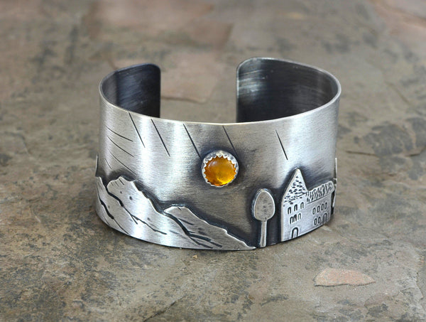 Harvest Moon over a Small Town Artisan Sterling Silver Cuff Bracelet