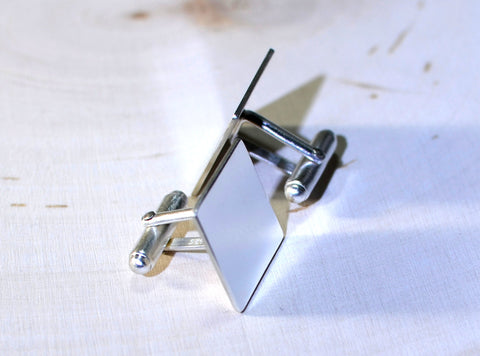 Square sterling silver cuff links for you to personalize, NiciArt
