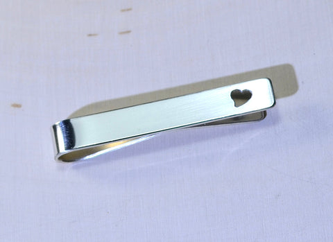 Tie bar in sterling silver with heart cut out for love weddings or Fathers Day, NiciArt