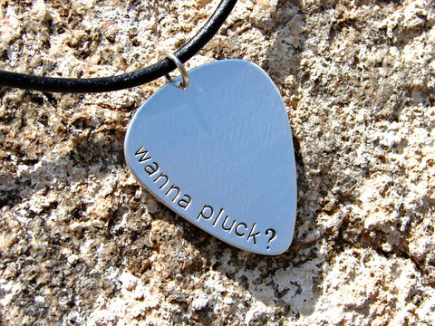 Wanna pluck sterling silver guitar pick pendant, NiciArt