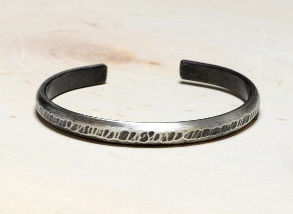 Rustic Hammered Sleek Sterling Silver Half Round Bracelet with Brushed Patina