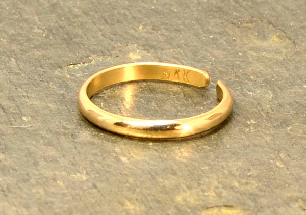 Dainty 14k Solid Gold Toe Ring with Elegant Half Round Design and Polished