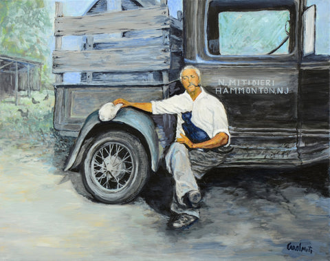 Custom Portrait on Canvas with Acrylic – Grandpa on Farm, NiciArt