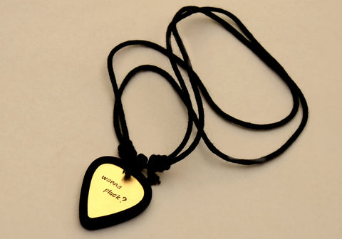 Guitar Pick Holder Necklace with Custom Brass Wanna Pluck Guitar Pick, NiciArt