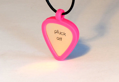Pink Guitar Pick Holder Necklace with Custom Bronze Pluck Off Guitar Pick, NiciArt