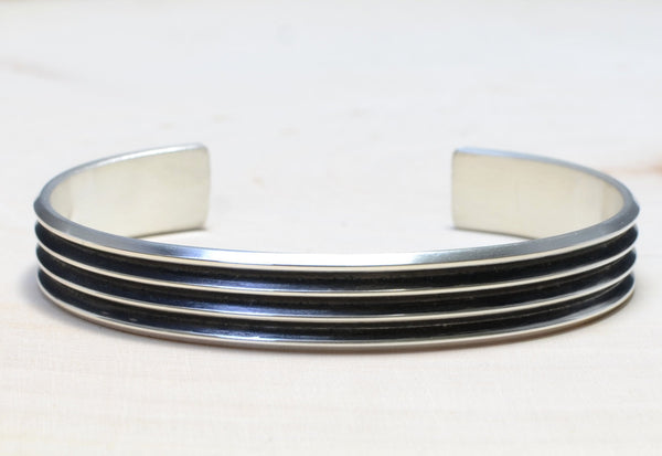 Modern Cuff Sterling Silver Bracelet with Grooves