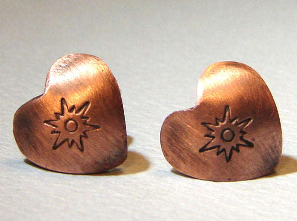 Sunburst heart earrings in copper