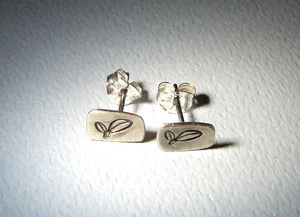 Sterling Silver Stud Earrings Leaf Design Handmade with Brushed Patina