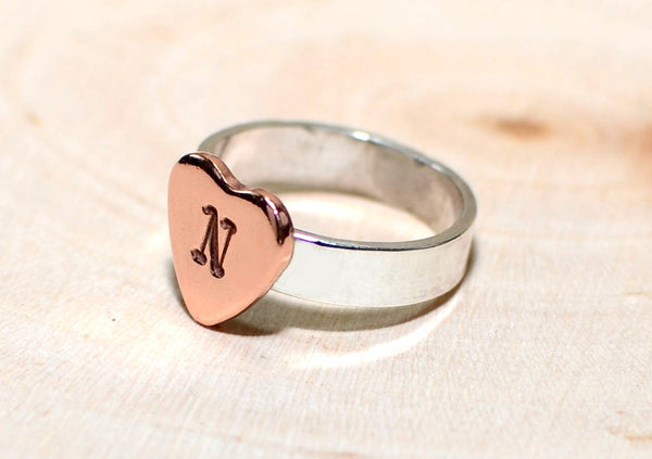 Personalized copper heart on sterling silver ring