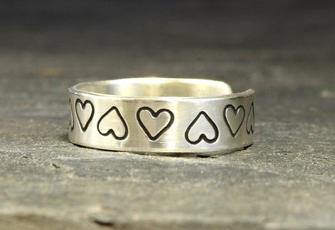 Heart Stamped Sterling Silver Toe Ring for Spreading the Love, NiciArt