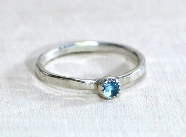 Sterling Silver Ring with Blue Topaz and Custom Hammered Band