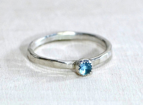 Sterling Silver Ring with Blue Topaz and Custom Hammered Band, NiciArt
