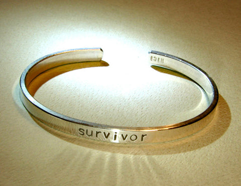 Survivor cuff bracelet in massive sterling silver, NiciArt