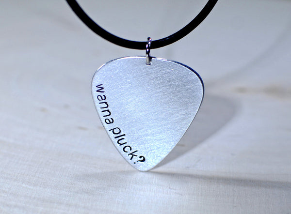 Aluminum Wanna Pluck Guitar Pick Necklace, NiciArt