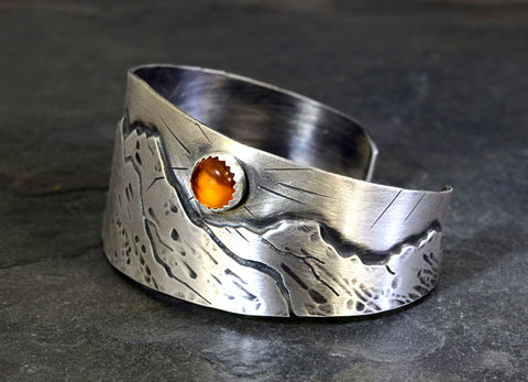 Harvest Moon over Mountains Handmade Artisan Sterling Silver Cuff Bracelet with Amber