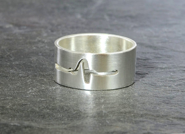 Medical Ring with Heartbeat Cut Out in Sterling Silver