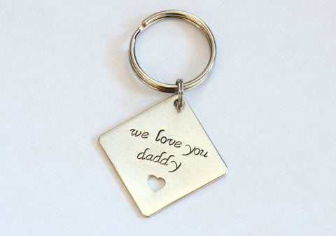 Sterling Silver Square Keychain with Heart Cut Out and We Love You Daddy or Custom Message, NiciArt