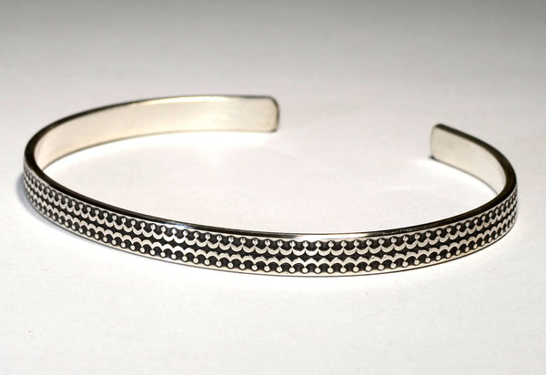 Double Crown Sterling Silver Patterned Cuff Bracelet