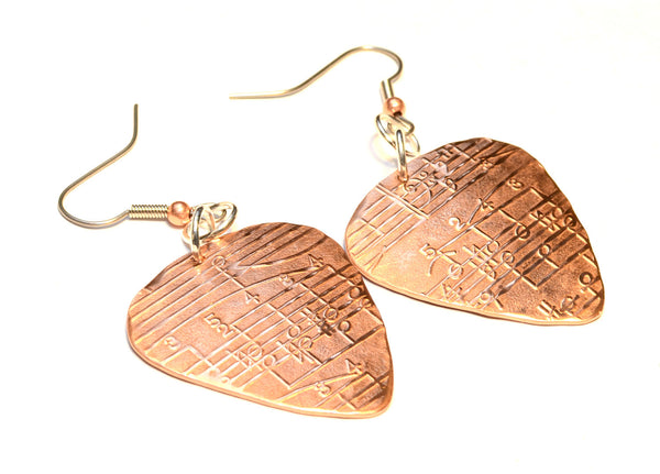 Musical Patterned Copper Guitar Pick Dangle Earrings