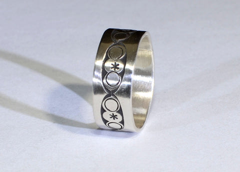 Geometrical Sterling Silver Ring Featuring Endless Circles Imprinted by Handmade Rustic Metal Stamping