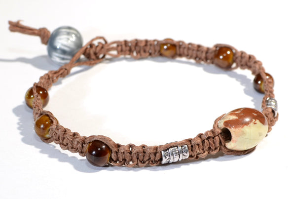 Ceramic Beads in Brown Hemp Bracelet or Anklet with Jasper Bead, NiciArt