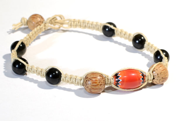 Hemp Bracelet or Anklet Knotted with Tiger Eye, Chevron, and Wood Beads