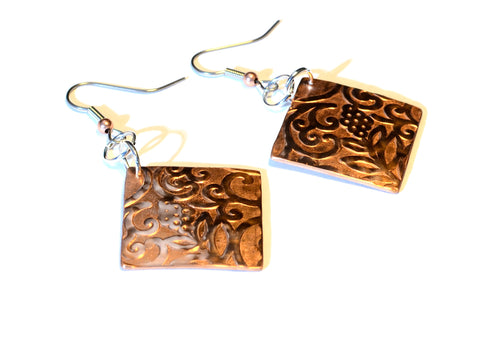 Ornate Art Nouveau Copper Dangle Earrings with Flowing Flowering Botanical Design, NiciArt