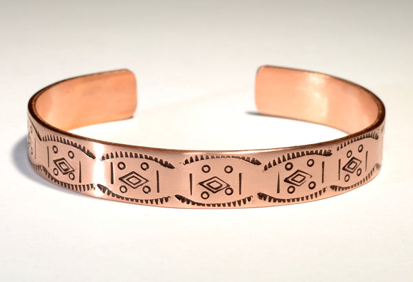 Copper Cuff Bracelet Imprinted with Handmade Native American Stamps Featuring Free Spirited Rustic Southwestern Flair, NiciArt