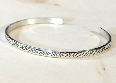 Dainty Sterling Silver Cuff Bracelet with Handmade Native American Metal Stamps, NiciArt