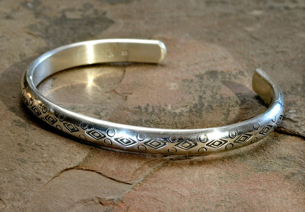 Half Round Sterling Silver Cuff Bracelet with Handmade Native American Stamps