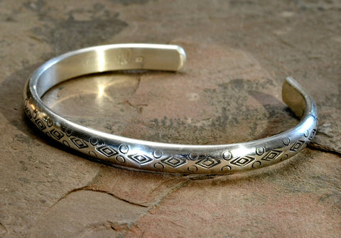 Half Round Sterling Silver Cuff Bracelet with Handmade Native American Stamps, NiciArt
