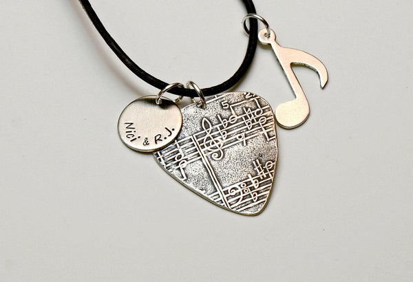Sterling Silver Guitar Pick Necklace with Music Note and Personalized Disc Charm