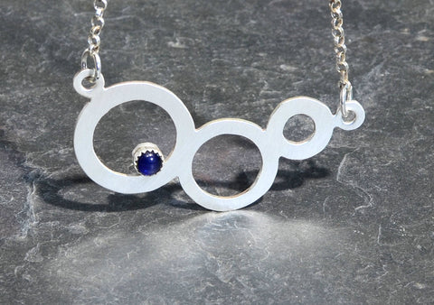 Three Circle Sterling Silver Modern Necklace with a Sapphire Stone, NiciArt