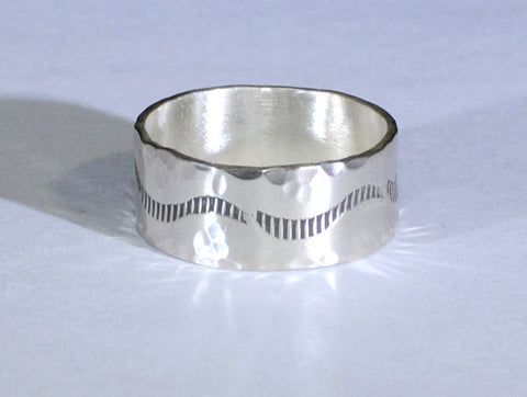 Rustic Sterling Silver Ring Imprinted with Handmade Border Stamps and Hammered Texture