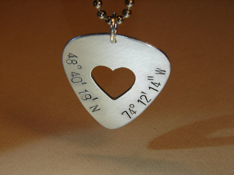 Latitude longitude guitar pick necklace with heart in sterling silver, NiciArt