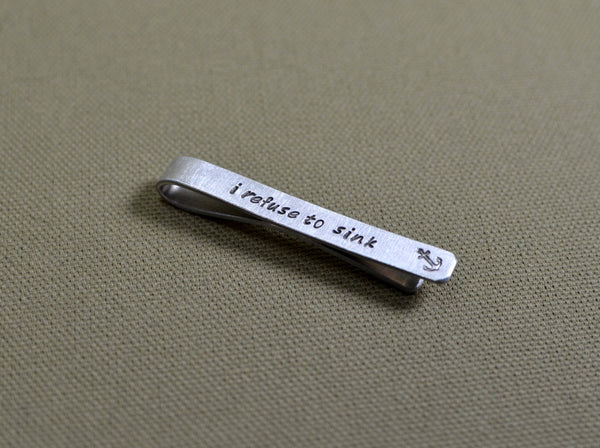 I refuse to sink sterling silver tie bar with anchor