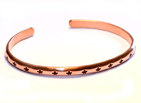 Dainty Half Round Copper Cuff Bracelet with Flowers