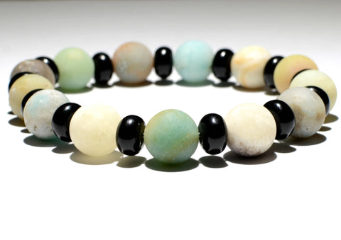 Amazonite and Black Onyx Beaded Gemstone Bracelet or Anklet, NiciArt