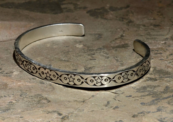 Southwestern Sterling Silver Cuff Bracelet Imprinted with Handmade Artisan Native American Metal Stamps