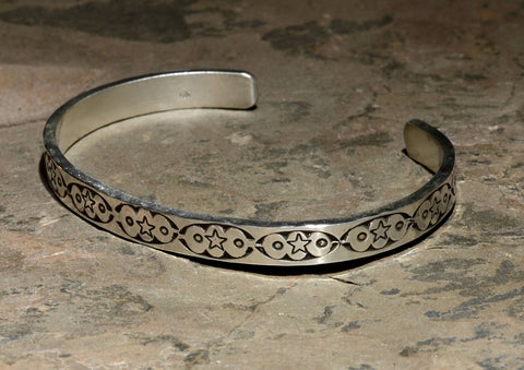 Southwestern Sterling Silver Cuff Bracelet Imprinted with Handmade Artisan Native American Metal Stamps, NiciArt