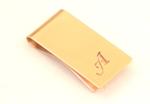 Bronze Money Clip Personalized with Hand cut Calligraphy inspired Initial – Parallel to Length Orientation, NiciArt