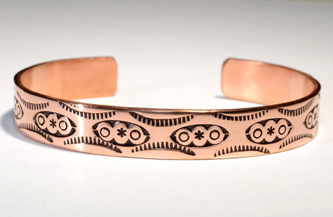 Copper Cuff Bracelet Imprinted with Handmade Native American Stamps and Rustic Free Spirited Craftsmanship, NiciArt