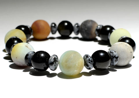 Beaded Bracelet or Anklet with Amazonite and Tiger Eye Alternating between Snowflake Obsidian Accents, NiciArt