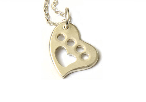 A Paw for the Animal Love in Custom Sterling Silver Heart Charm Necklace, NiciArt