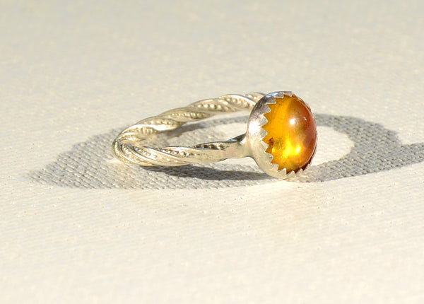 Amber Twisted in Sterling Silver Tentacle Patterned Wire Ring, NiciArt