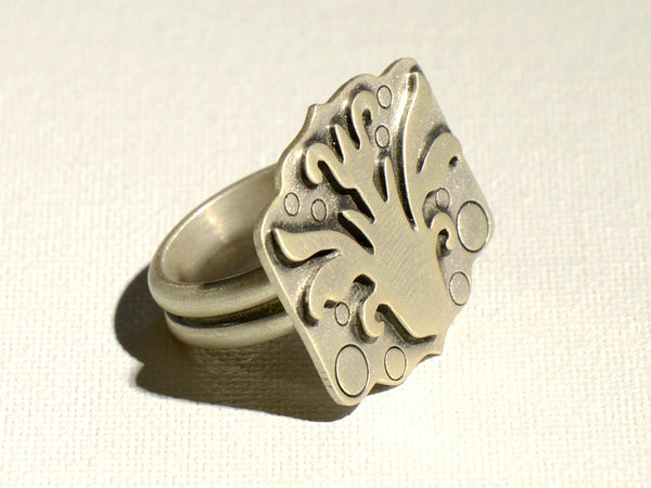 Art Deco Sterling Silver Flower Statement Ring, NiciArt