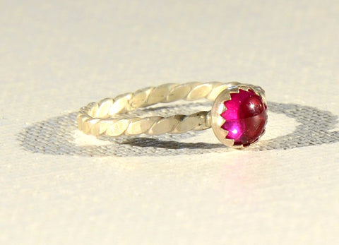 Dainty Ruby Sterling Silver Twist Ring
