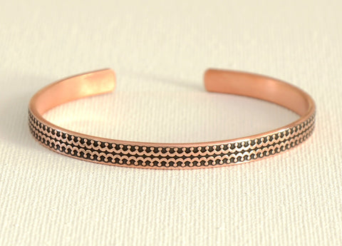 Narrow copper patterned cuff bracelet