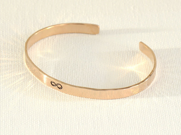 Infinity Bronze Cuff Bracelet with Hammered Pattern and Polished Finish for Love