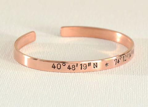 Latitude Longitude Coordinates Cuff Bracelet in Copper for Personalizing, NiciArt